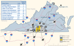 airports near Southern Virginia Regional Alliance